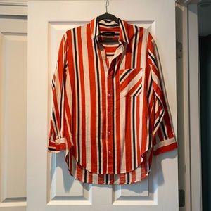 Zara Striped Cotton Linen Blend Button Down Shirt